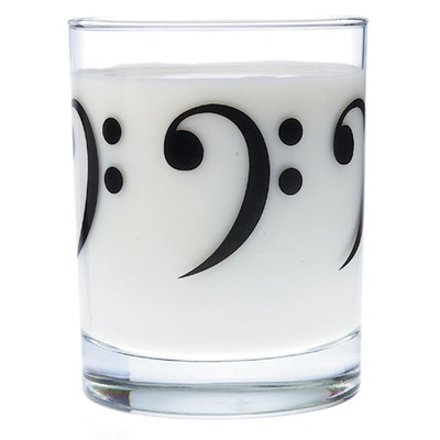 Music Themed Glass Tumbler - Bass Clef - Aim - 2215