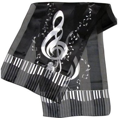Scarf Aim Satin Stripe Keyboard Clef Notes Black - 13 X 60 - Aim - 56426