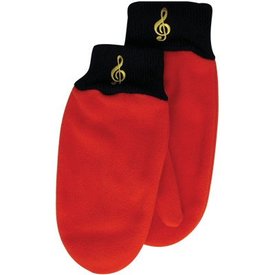 Fleece Mittens - G-Clef, Red, Medium/Large - Aim - 9913ML