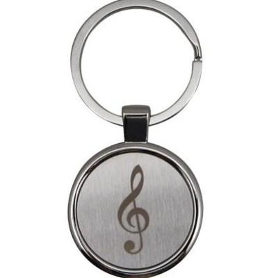 Keychain Aim G-Clef Round Satin/Chrome Engraved - Aim - K4104