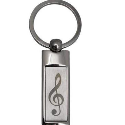 Keychain Aim G-Clef Rectangle Satin/Chrome Engraved - Aim - K4105