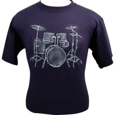 Embossed Drums T-Shirt - Navy & White - XL - Aim - 82578XL