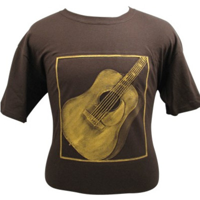 Embossed Acoustic Guitar T-Shirt - Brown & Gold - XL - Aim - 82609XL