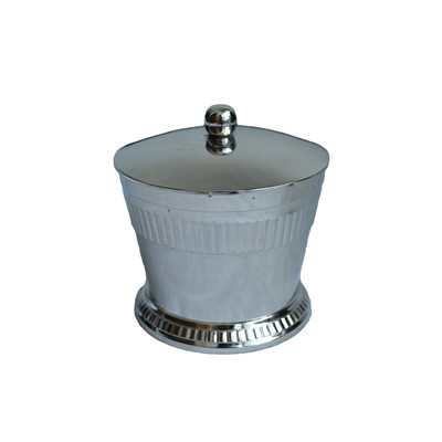 Moderne Silver Cotton/Q-Tip Canister