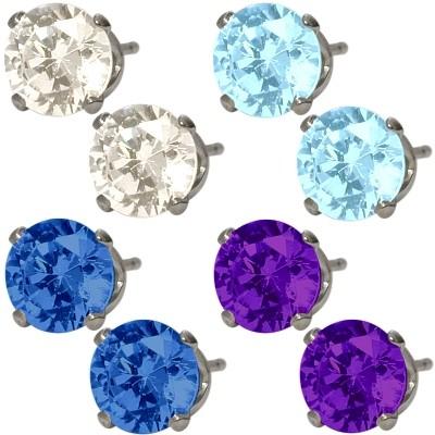 4 pairs of 6mm SWAROVSKI Elements Genuine Sterling Silver Stud Earrings