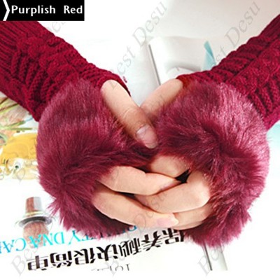 2 X Ladies Cony Hair & Knitted Half Finger Gloves - Red Color