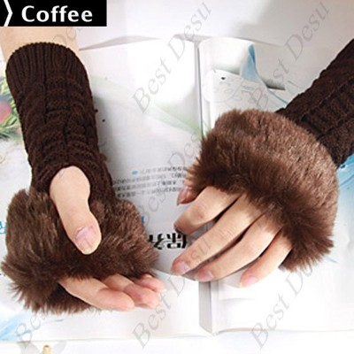 2 X Ladies Cony Hair & Knitted Half Finger Gloves - Coffee Color