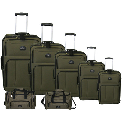 Seven Piece Luggage Set 30 inch 27 inch, 24 inch, 20 inch, 17 inch Uprights w/Matching Tote Bag and Sport Bag