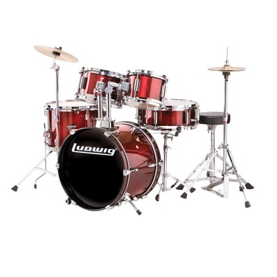 Ludwig Junior 5-Piece Drum Kit - Throne, Cymbals, with Hardware, Blue - Ludwig - LJR1062