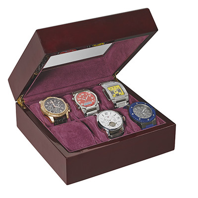 WOODEN WATCH COLLECTOR CASE FOR OVER-SIZED WATCHES (6 watches)