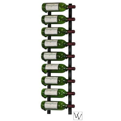 9 Bottle Vintage View Wall Mounted Wine Rack Platinum Series Nickel Finish