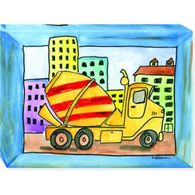 CITY LIFE CEMENT TRUCK canvas art 12x16