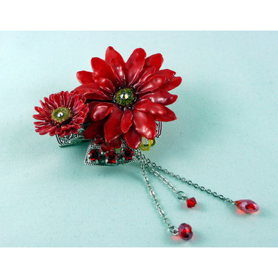 Aster & Daisy Pendant (red)