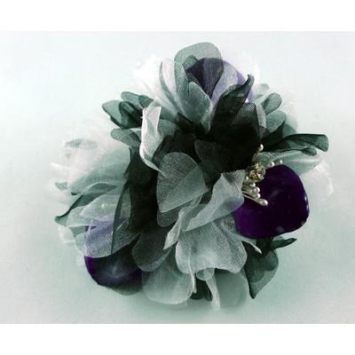 Dendrobim Petal with Black & White Chiffon Brooch