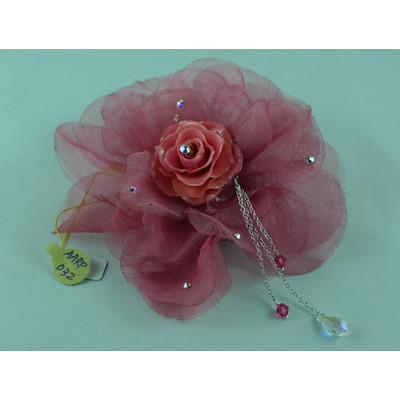 Red Chiffon with Cream Rose Brooch