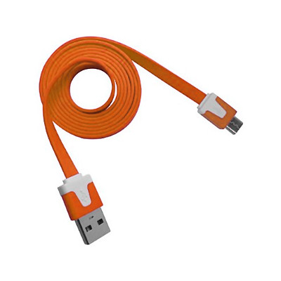 2 X Micro USB Flat Cable - Orange Color