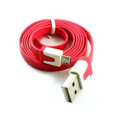 2 X Micro USB Flat Cable - Red Color