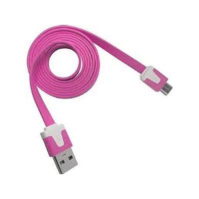 2 X Micro USB Flat Cable - Magenta Color