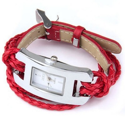 2 X Handmade Leather Bracelet Watch - Red Color