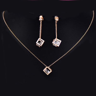 18K Gold Plated Cubic Frame CZ Jewellery Set