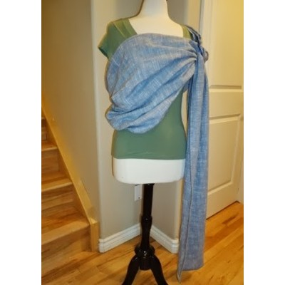 SILVER BLUE CHAMBRAY LINEN RING SLING