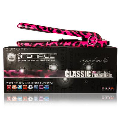 "Royale Professional Ceramic Flat Iron 1 1/4"" -Hot Pink Leopard -5 YEAR WARRANTY- FREE HOLDER"
