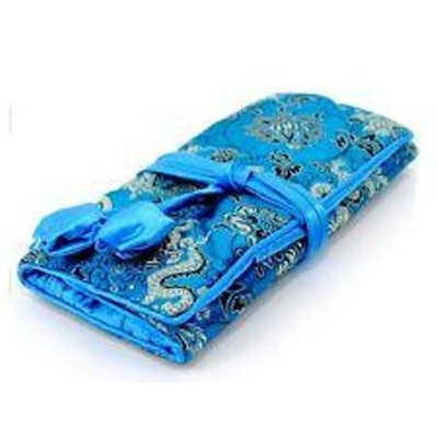 Silk Jewelry Travel Organizer - Blue Color