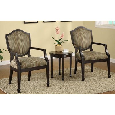 CAMBRIDGE-3PC ACCENT CHAIR SET-DARK WAL