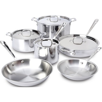 All-Clad Tri-Ply Stainless Cookware Set - 10 pcs