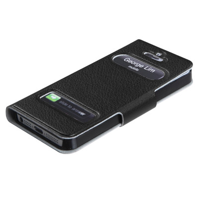 2 X Smart Caller Display iPhone 5 PU Leather Case - Black color