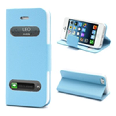 2 X Smart Caller Display iPhone 5 PU Leather Case - Blue color