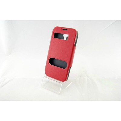 2 X Smart Caller Display Samsung S4 PU Leather Case - Red color