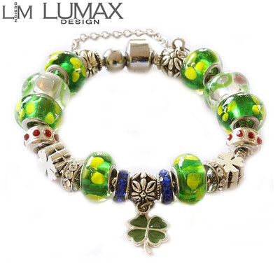 Pandora Inspired Beads & Charms Green Bracelet
