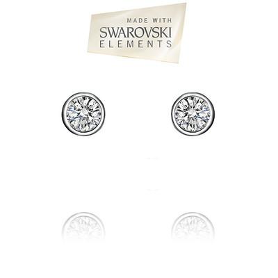 Swarovski® Embellished  Bezel Set Crystal Round Shape Stud Earrings.