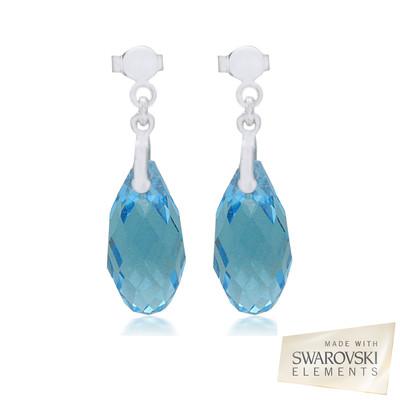 Swarovski Embellished  Aquamarine Briolette Crystal Earrings