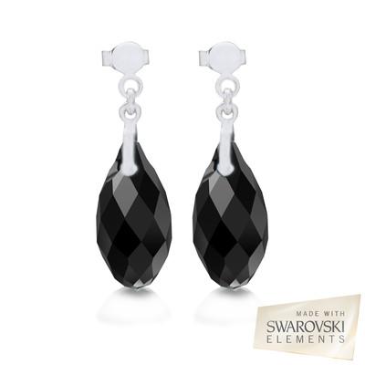 Swarovski Embellished Black Briolette Crystal Earrings.