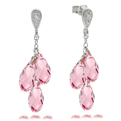 Swarovski® Embellished Rose Briolette Dangle Earrings