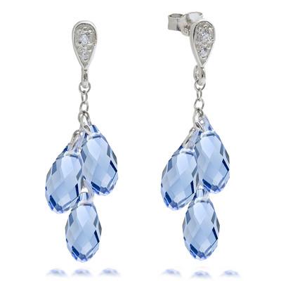 Swarovski® Embellished Sapphire Briolette Dangle Earrings