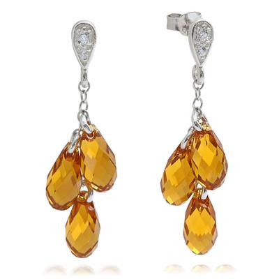 Swarovski® Embellished Yellow Topaz Briolette Dangle Earrings