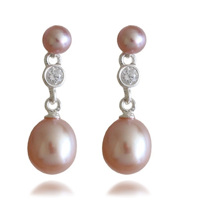 Pink AAA Quality Freshwater Round and Oval Shape Pearl & Cubic Zirconia Drop Sterling Silver Earrings