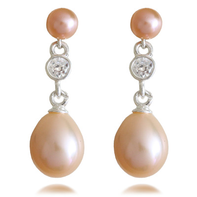 Peach AAA Quality Freshwater Round and Oval Shape Pearl & Cubic Zirconia Drop Sterling Silver Earrings