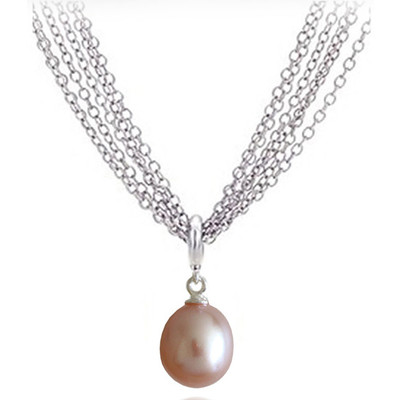 Light purple 9.0x6.00MM AAA Quality Freshwater Pear Shape Pearl Necklace