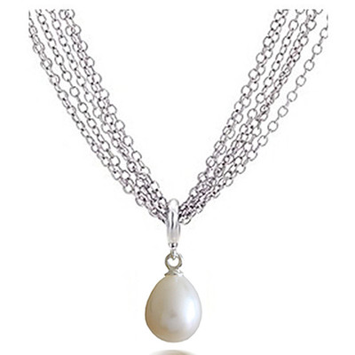 White 9.0x6.00MM AAA Quality Freshwater Pear Shape Pearl Necklace