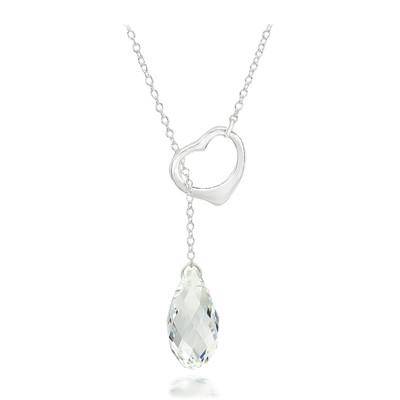 Swarovski Embellished Crystal Briolette Heart Necklace Sterling