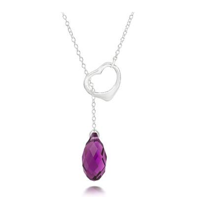 Swarovski® Embellished Amethyst Crystal Briolette Heart Necklace