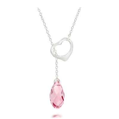 Swarovski® Embellished Rose Crystal Briolette Heart Necklace.