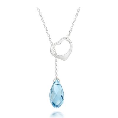 Swarovski® Embellished Aquamarine Crystal Briolette Heart Necklace.