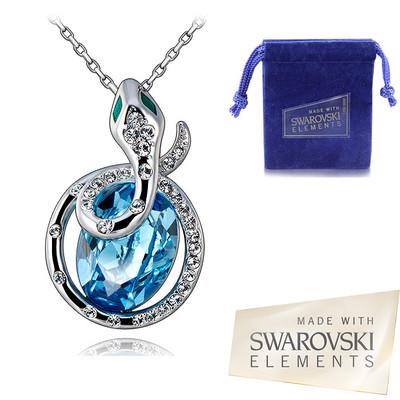 Swarovski Elements Aquamarine Crystal New Year 2013 Snake Pendant 18 Inches