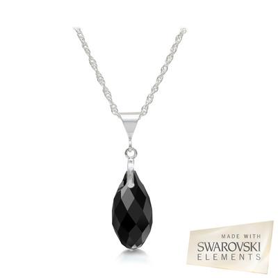Swarovski Embellished Black Briolette Crystal Pendant Sterling Silver