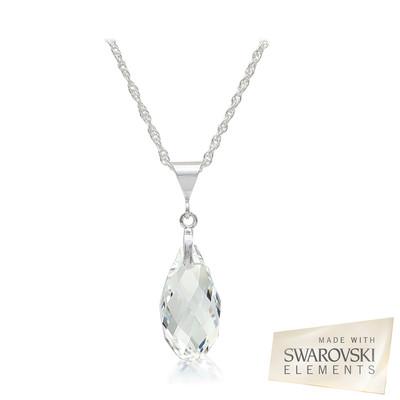 Swarovski® Embellished Crystal Briolette Pendant Sterling Silver